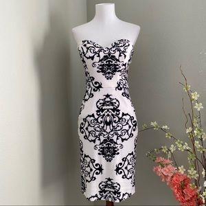 B Darlin Black and White Strapless Dress
